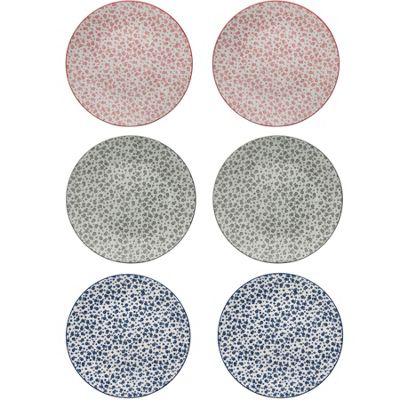 Patterned Dinner Plates Set - 265mm - 3 Flower Designs - x6