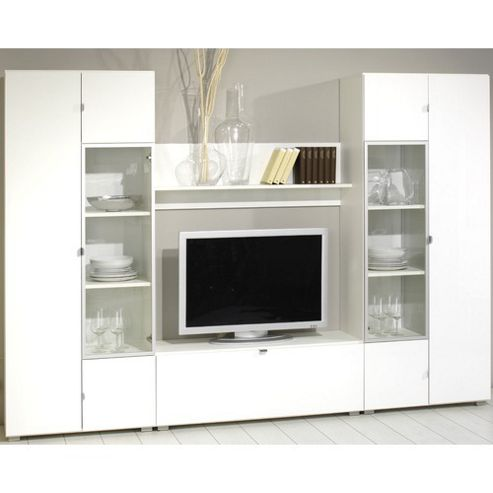 Bush Combination Wall Unit with Doors / Flaps - White Gloss