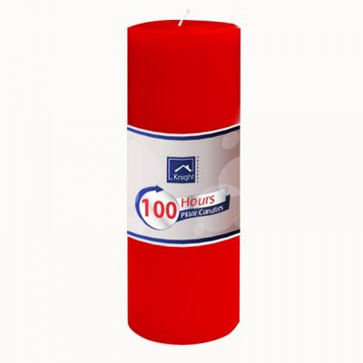 10 x Red Pillar Candle 100 Hours Burn Time