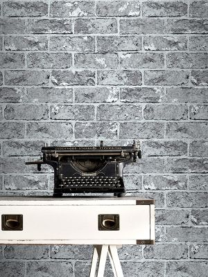 Silver Black Brick Effect Wallpaper - 262932 Windsor Wallcoverings