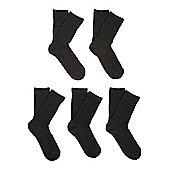 F&F 5 Pair Pack of Ribbed Socks - Grey