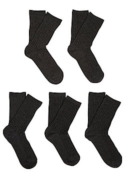 F&F 5 Pair Pack of Ribbed Socks - Grey