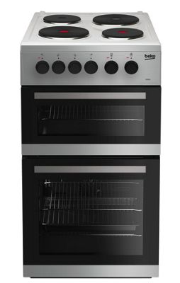 Beko Double Oven Electric Cooker, KD533AS - Silver