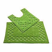Homescapes Cotton Check Border Fern Green Bath and Pedestal Mat