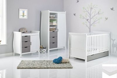 Obaby Stamford Classic Sleigh 4 Piece Pocket Sprung mattress Nursery Room Set - White with Taupe Grey