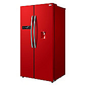 Russell Hobbs RH90FF176R-WD, American Style Fridge Freezer with Water Dispenser - Red