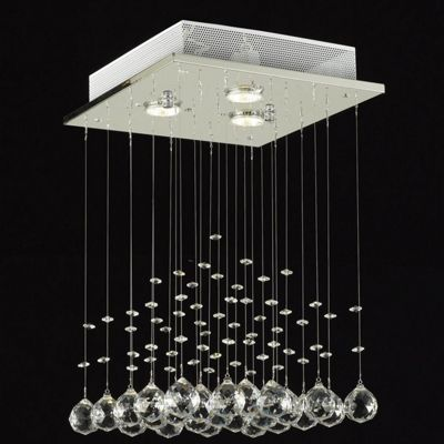 Homcom crystal lamp ceiling light wedding chandelier rain drop glass pendant silver