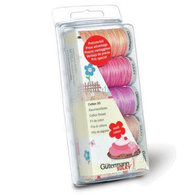 Gutermann Pink & Purple Cotton Thread Pack 300m 5pk