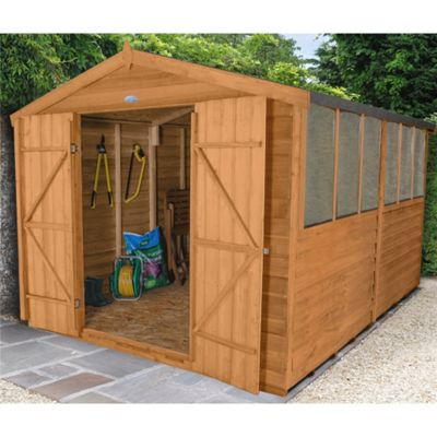 12 x 8 Rock Select Overlap Apex Wooden Garden Shed With 6 Windows And Double Doors - Assembled 12ft x 8ft (3.66m x 2.44m)