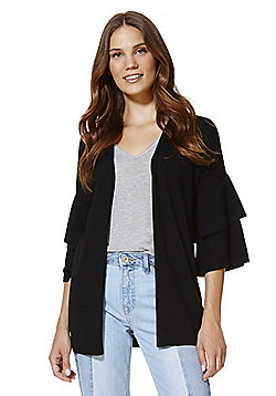 F&F Double Frill Sleeve Open Front Cardigan with As New Technology - Black