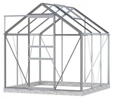 Simplicity Classic Plain Aluminium 6x6 Greenhouse With Toughened Glass and Metal Base