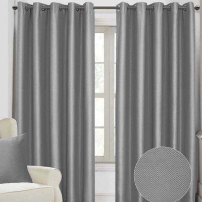 Homescapes Deep Sea Grey Herringbone Style Eyelet Curtains, 90x72