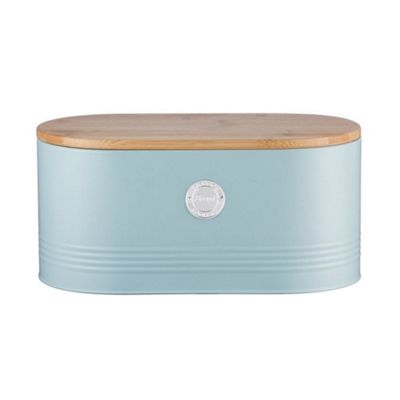 Typhoon living Stainless Steel Duck Egg Blue Bread Bin with Bamboo Lid
