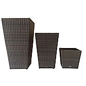 Bentley Garden Set of 3 Tall Rattan Planters