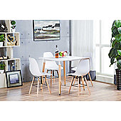 Anton White Wood Square Dining Table And 4 White Sven Chairs