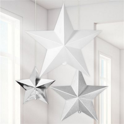 Silver Mix 3D Star Decorations - 35cm