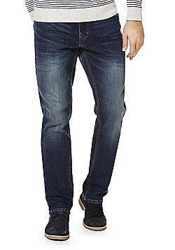 F&F Vintage Wash Stretch Straight Leg Jeans - Mid wash