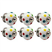 Nicola Spring Ceramic Cupboard Drawer Knob - Polka Dot - Pack Of 6