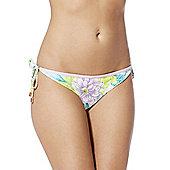 F&F Floral Print Reversible Side Tie Bikini Briefs - Green & Purple