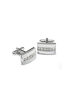 Mother of Pearl and Clear Crystal Cufflinks - ccc35