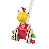Bigjigs Toys Dinosaur Push Along (Red Body/Yellow Head)