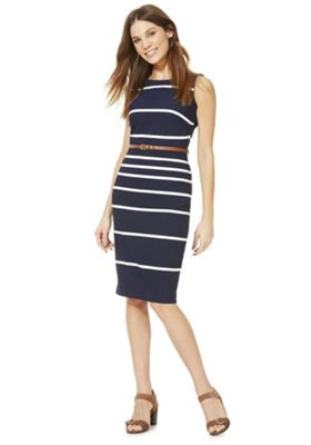 F&F Striped Belted Midi Dress Blue 16