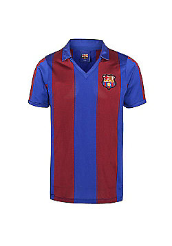 Score Draw FC Barcelona 1982 Mens Home Football Shirt Red/ Blue - Claret & Blue