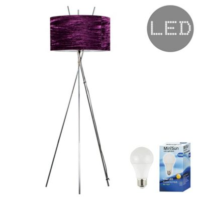 Crawford Chrome Tripod LED Floor Lamp - Chrome & Purple