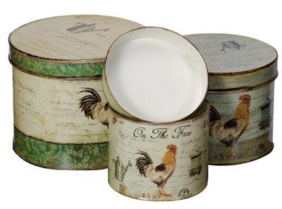 Set Of 3 Cockerel Storage Tins