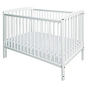 Poppy's Playground Rita Cot - White 124X67x91cm & 4 Inch Safety Foam Mattress