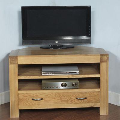 Hawkshead Rustic Oak Blonde Corner TV Cabinet