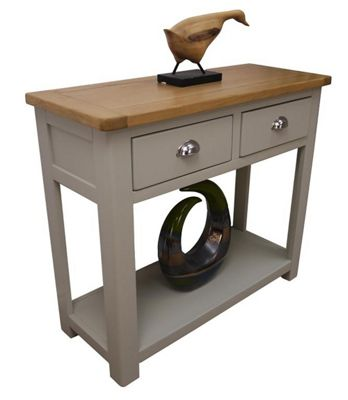 aspen painted sage grey oak console table 2 drawer hallway table