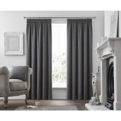 Curtina Voysey Graphite Pencil Pleat Curtains - 90x72 Inches (229x183cm)