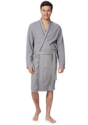 F&F Waffle Jersey Dressing Gown Grey L-XL
