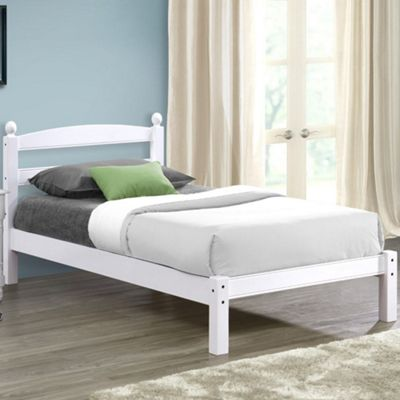 Happy Beds Oslo Wood Low Foot End Bed with Pocket Spring Mattress - White - 3ft Single