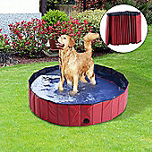 PawHut Pet Swimming Pool Indoor / Outdoor Bathing Tub Foldable (Φ140 x 30H (cm), Red)