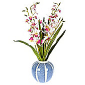 Homescapes Artificial White and Cerise Dendrobium Orchid in a Round Blue and White Vase