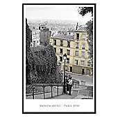 Paris, 1950 Gloss Black Framed Monmartre Poster