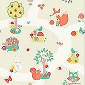 Forest Friends Wallpaper - Neutral - Arthouse 667201