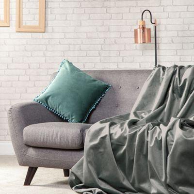 Slate Plush Velvet 140cm x 200cm Soft Throw Over - 1 Sided
