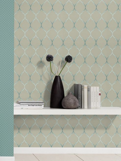 Fretwork Geometric Wallpaper Taupe Rasch 701623