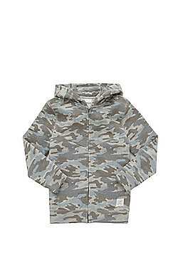 F&F Camo Print Zip-Through Hoodie - Grey