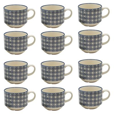 Patterned Tea / Coffee Stacking Cups - Blue Flower Design - x 12