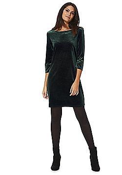 Vila Velour Bodycon Dress - Green