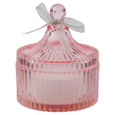 Decorative Glass Filled Candle Jar, Pink