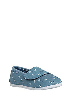 F&F Anchor Print Canvas Shoes - Denim blue