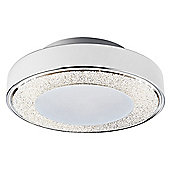 Modern LED Flush Ceiling Light in Plated Chrome with Crystal Glass Decoration