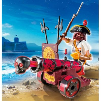 Playmobil Pirates Interactive Cannon with Pirate Captain Red