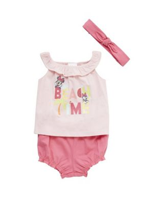 Disney Minnie Mouse Beach Time Vest Top, Bloomers and Headband Set Pink 9-12 months