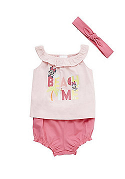 Disney Minnie Mouse Beach Time Vest Top, Bloomers and Headband Set - Pink